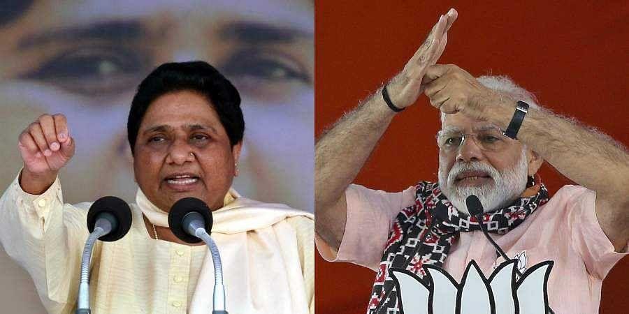 BSP chief Mayawati (L) and PM Narendra Modi