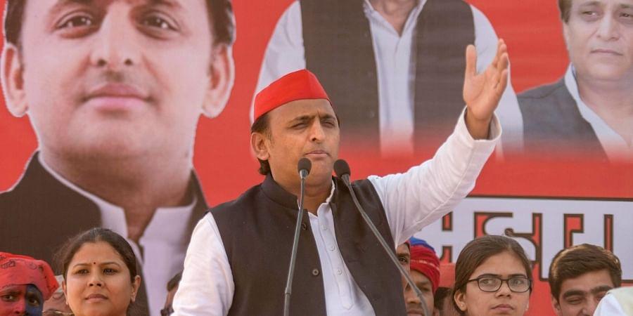 Samajwadi Party president Akhilesh Yadav addresses an election campaign rally for the Lok Sabha polls in Allahabad