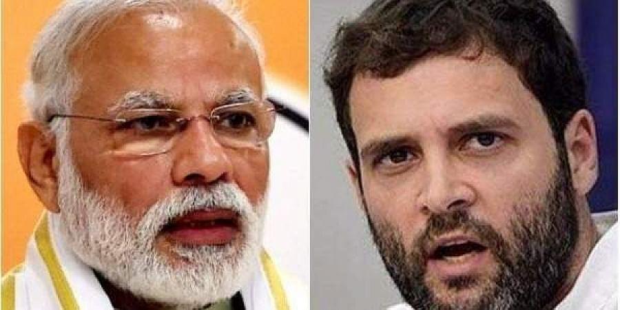 Prime Minister Narendra Modi (L) and Congress Chief Rahul Gandhi