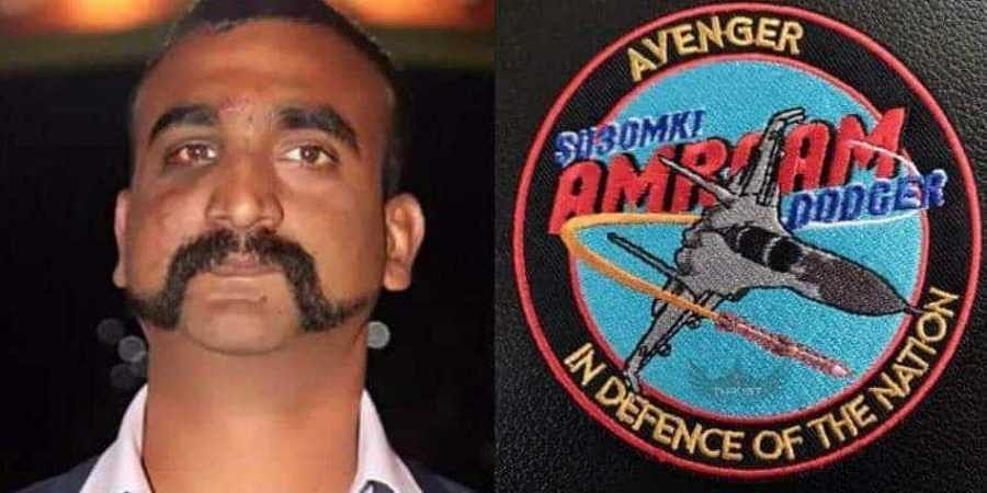 Combination photo of IAF pilot Abhinandan Varthaman and his squadron's new patch.