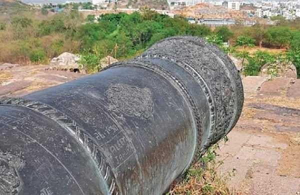 The cannon that lies vandalised at Petla Burj near Golconda in Hyderabad   Express