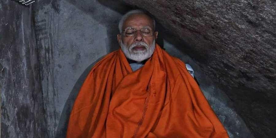 PM Modi meditating in the Kedarnath cave. (Photo | @BJP4India/Twitter)