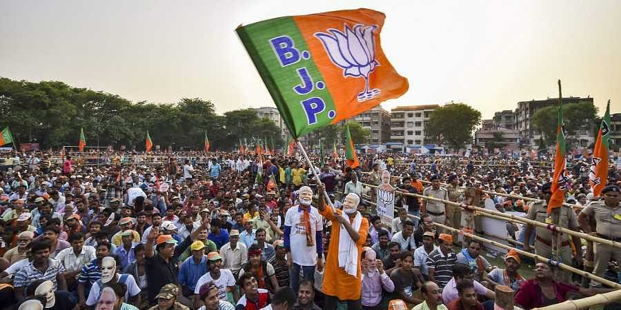 BJP flag and BJP supporter   PTI