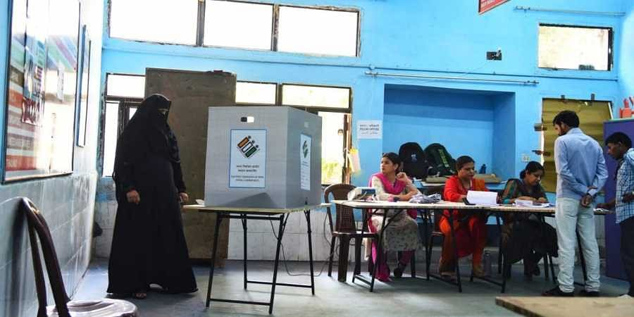 Repolling took place in a booth in Delhi's Chandni Chowk on 19 May 2019. (Photo | Parveen Negi, EPS)