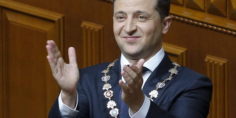 Ukrainian new President Volodymyr Zelenskiy gestures during his inauguration ceremony in Kiev, Ukraine. (Photo | AP)