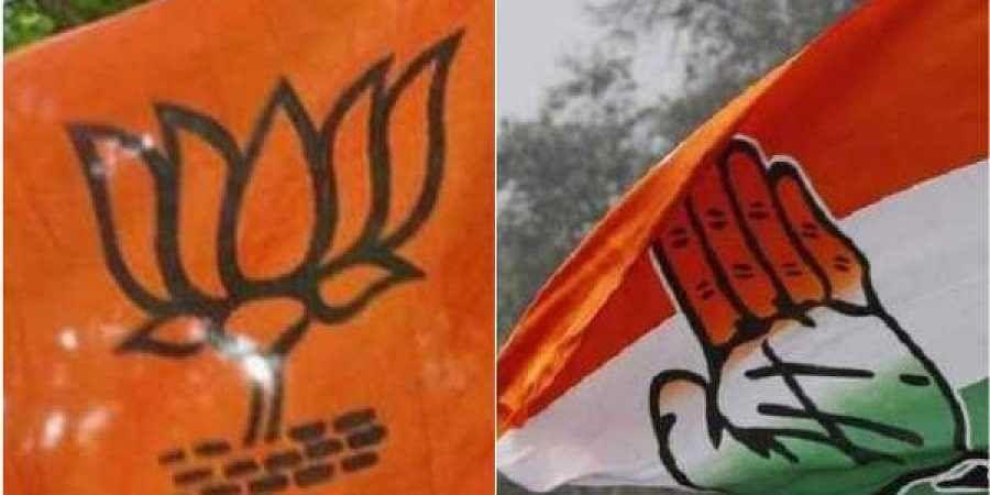 BJP flag Congress flag