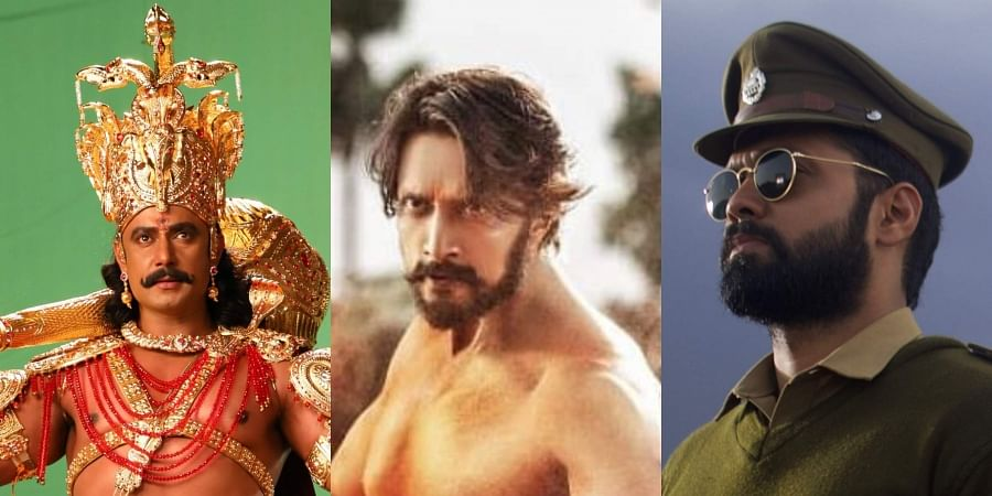L-R: Stills from Muniratna Kurukshetra, Pailwaan and Bharaate.