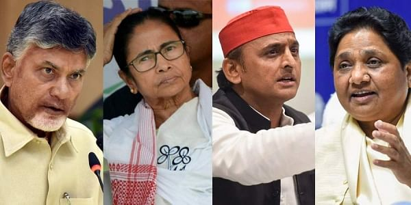 Chandrababu Naidu, Mamata Banerjee, Akhilesh Yadav and Mayawati. (Photo | PTI)