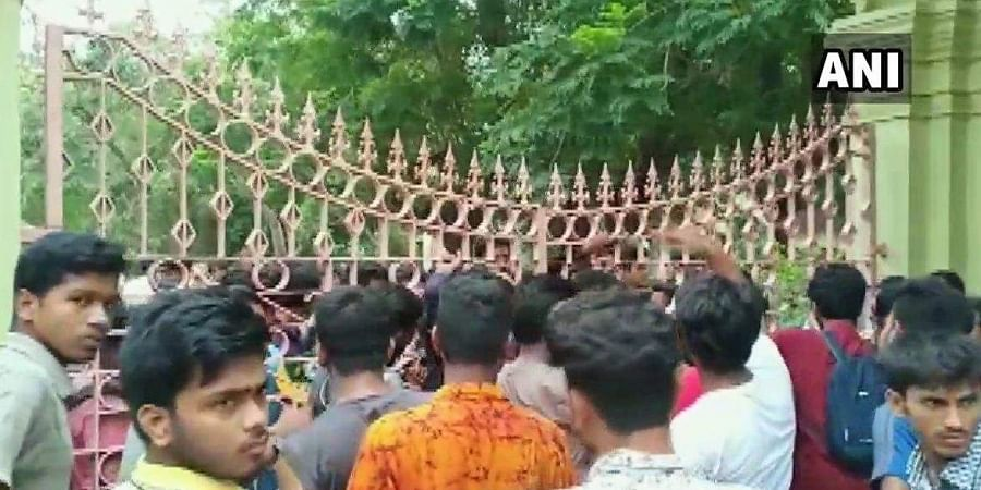 Visva-Bharati University students in Birbhum protesting against 20 per cent fee hike allegedly locked the gate of the university.
