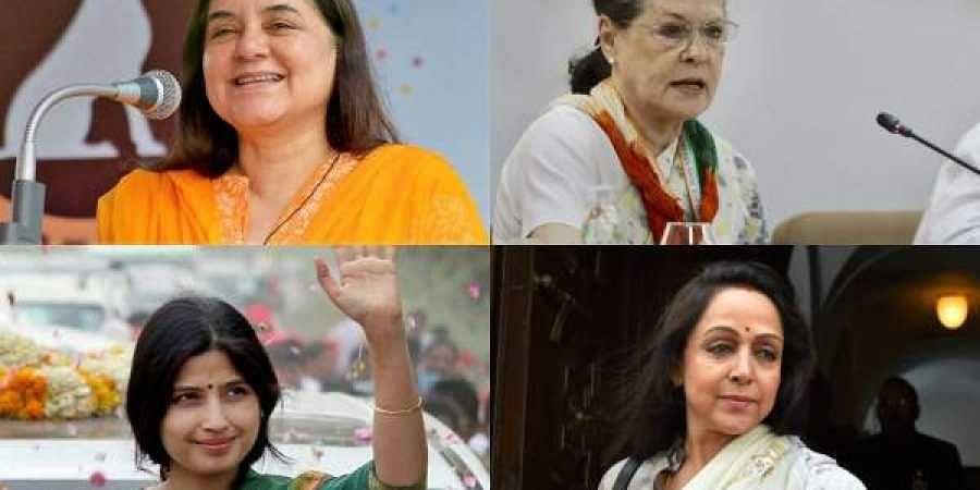 (Clockwise) Sonia Gandhi, Hema Malini, Dimple Yadav and Maneka Gandhi