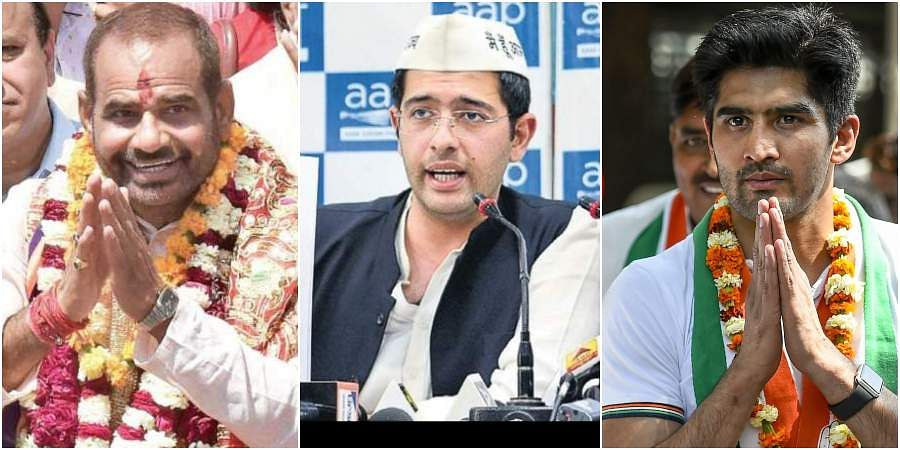 SOUTH DELHI: BJP candidate Ramesh Bidhuri won the South Delhi seat with a victory margin which was above 3 lakhs. Ramesh Bidhuri received 685789	votes, APP's Raghav Chadha got 319770 votes and Congress' candidate Boxer Vijender ended up in the third place with 164394 votes. (Photos | EPS, PTI)