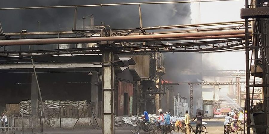 A fire was reported at the Tar Distillation Unit of SAIL's Bhilai Steel Plant at 8.30 am.