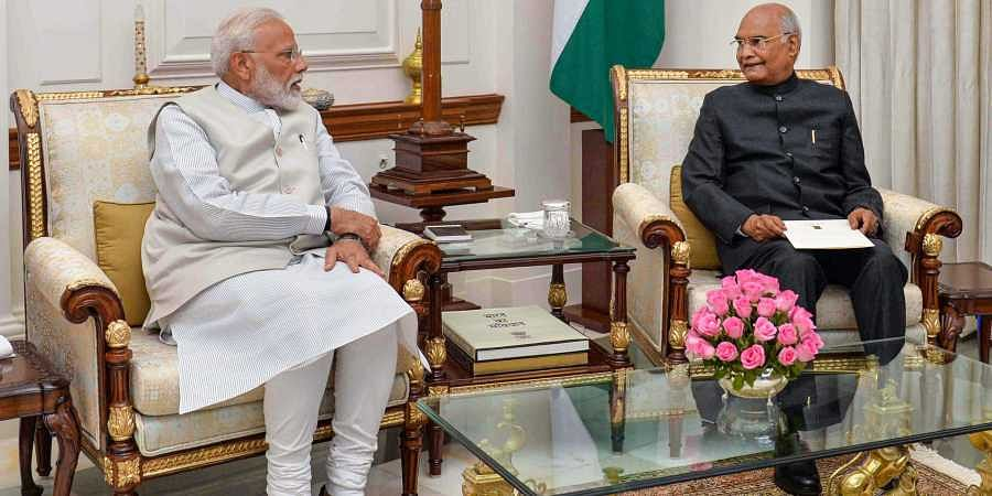 PM Narendra Modi with President Ram Nath Kovind at Rashtrapati Bhavan in New Delhi on 24 May 2019. The Prime Minister tendered his resignation along with the Union Council of Ministers. (Photo | PTI)