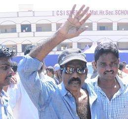 Actor Goundamani arrives to cast his vote in the South Indian Film Actors and Artistes Association Election.