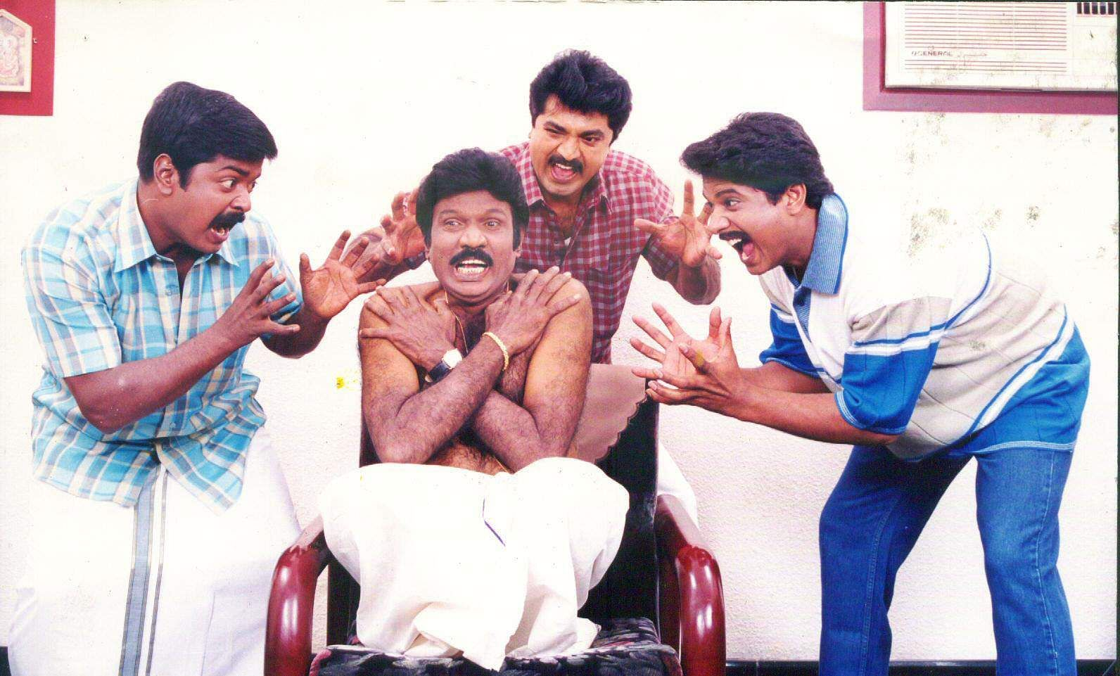 Actors Murali, Goundamani, Sarath Kumar and Manoj in 'Samudram'.