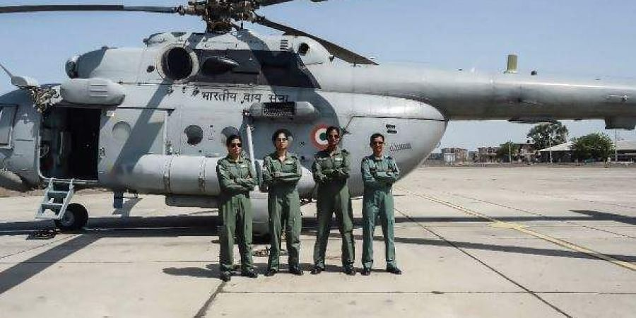 Three women IAF officers were part of the first all-women crew to fly a medium lift helicopter Mi-17 V5. (Photo | Twitter)