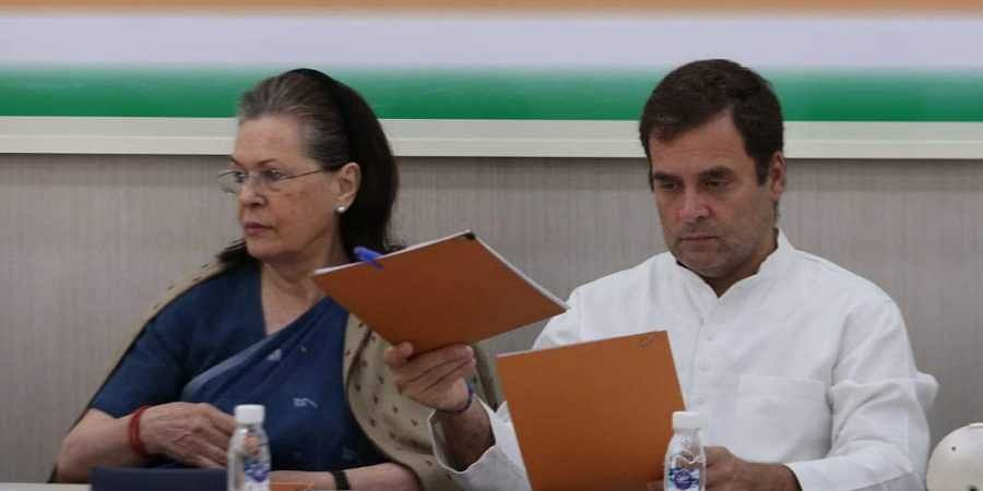Congress president Rahul Gandhi and UPA chairperson Sonia Gandhi during the Congress Working committee meeting at AICC in New Delhi on 25 May 2019. (Photo | Shekhar Yadav, EPS)