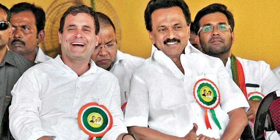 Supporters of the Congress-DMK alliance welcoming Congress president Rahul Gandhi and DMK chief MK Stalin in Nagercoil on Wednesday.