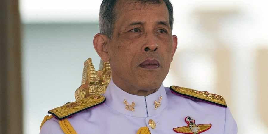 Thailand's King Maha Vajiralongkorn addresses the audience at the royal ploughing ceremony in Bangkok