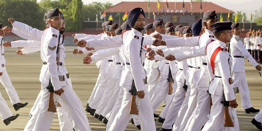 National Defence Academy cadets march past during the Passing Out Parade of 136th Course of National Defence Academy at NDA Khadakwasla in Pune on 29 May 2019. (Photo | PTI)