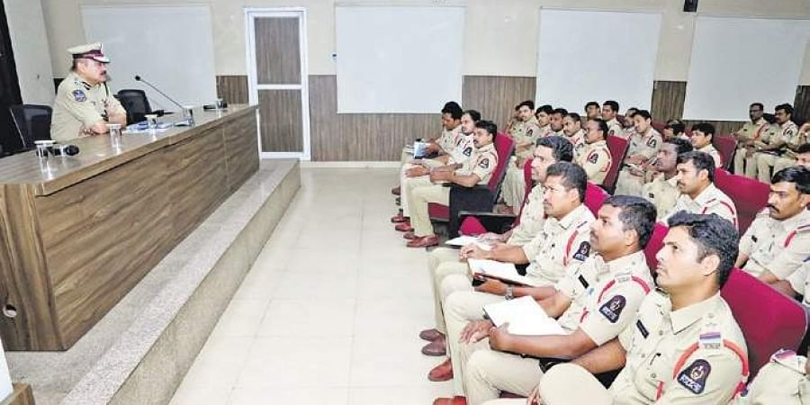 Hyderabad Police Commissioner Anjani Kumar addressing police SIs