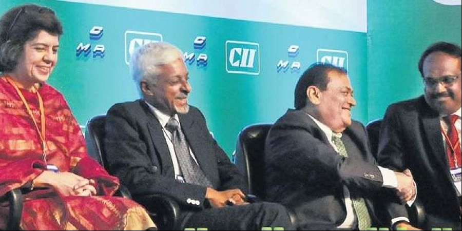 (From Left - Right) Brand Strategist Communications Expert - Aparna Dutt Sharma, Chairman Green Cementech 2019 Chief Manufacturing Officer ACC limited - Philip Mathew, President of CMA and Dalmia Cement Bharat Limited CEO - Mahendra Singhi and Director General of National Council for Cement Building Materials - BN Mohapatra at the Inagural session of 15th edition of Green Cementech 2019 at HICC in Hyderabad on Thursday