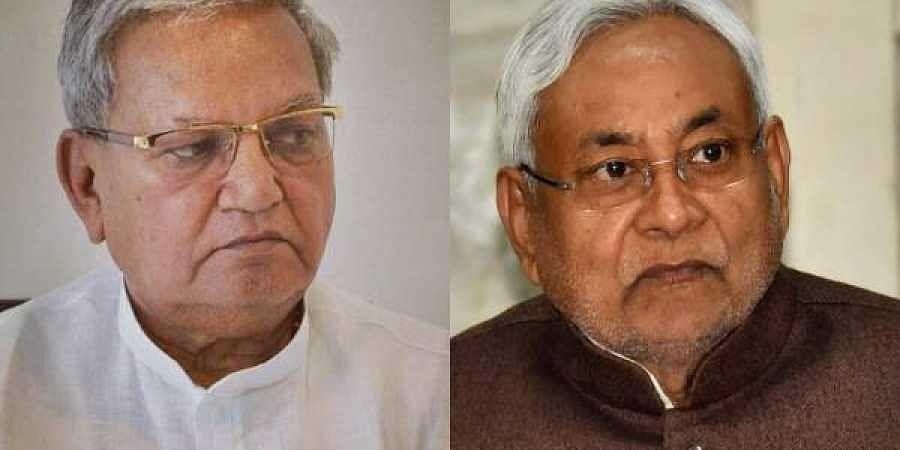 BJP MP Gopal Narayan Singh(L) and Bihar CM Nitish Kumar
