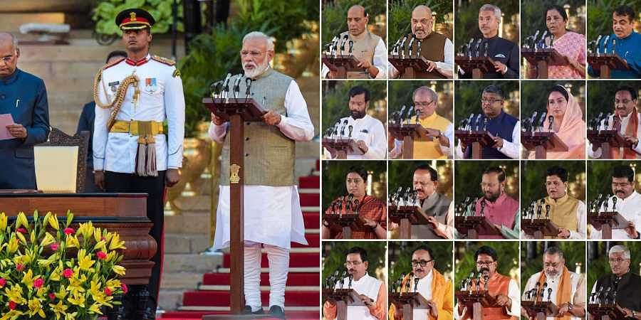 President Ram Nath Kovind administering oath of office and secrecy to Prime Minister Narendra Modi