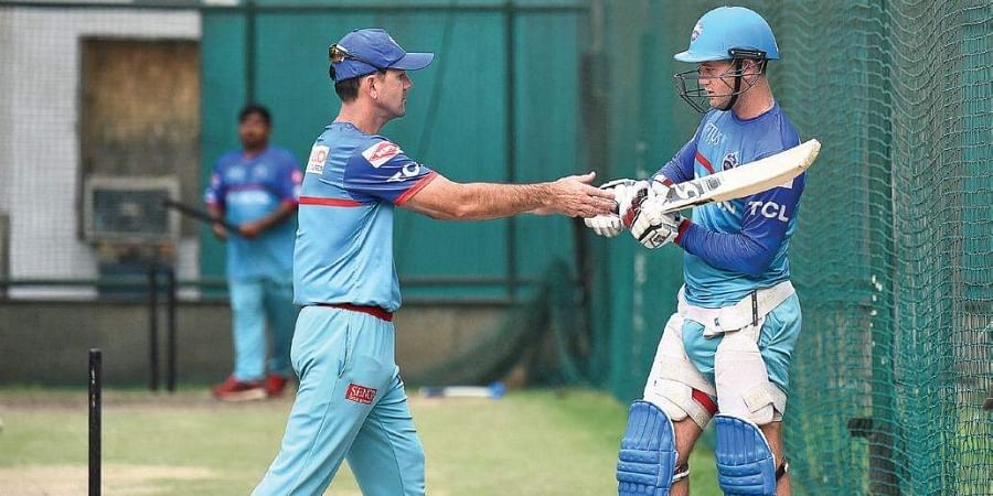 Delhi Capitals' Ricky Ponting and Colin Ingram during training