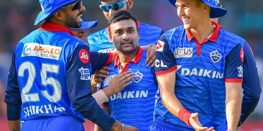 Delhi DC bowler Amit Mishra celebrates with his teammates after claiming a wicket during the Indian Premier League 2019 IPL T20 cricket match between Delhi Capitals DC and Rajasthan Royals RR in New Delhi on 4 May 2019. (Photo | PTI)