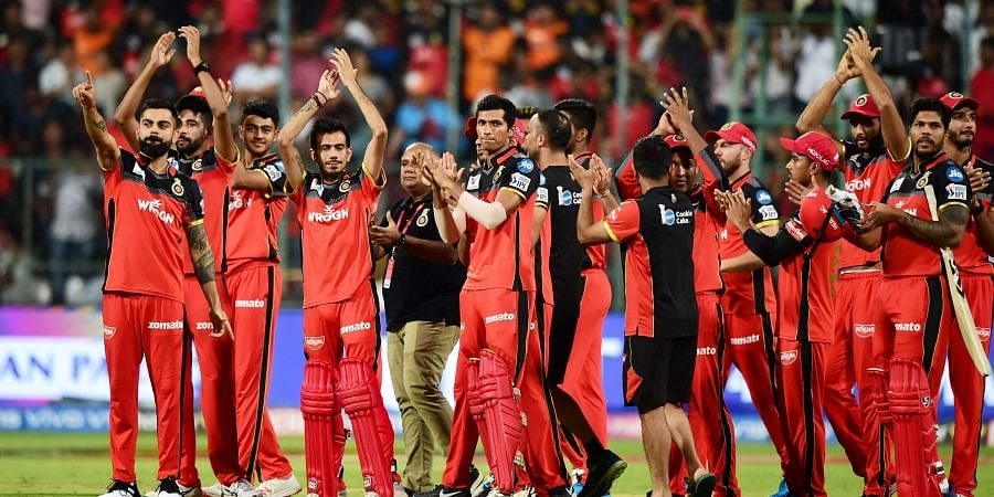 RCB Skipper Virat Kohli with teammates acknowledges the crowd after team's victory during the Indian Premier League 2019 IPL T20 cricket match between Royal Challengers Bangalore RCB and Sunrisers Hyderabad SRH at Chinnaswamy Stadium in Bengaluru on 4 May