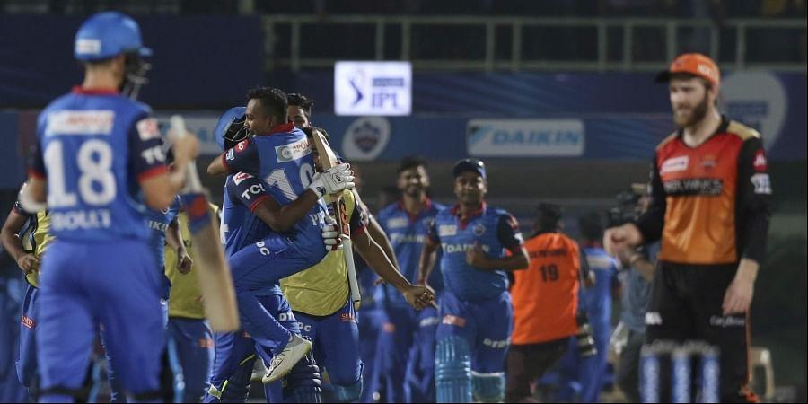 Delhi Capitals' cricketers celebrate after winning the VIVO IPL T20 cricket eliminator match against Sunrisers Hyderabad in Visakhapatnam. (Photo   AP)