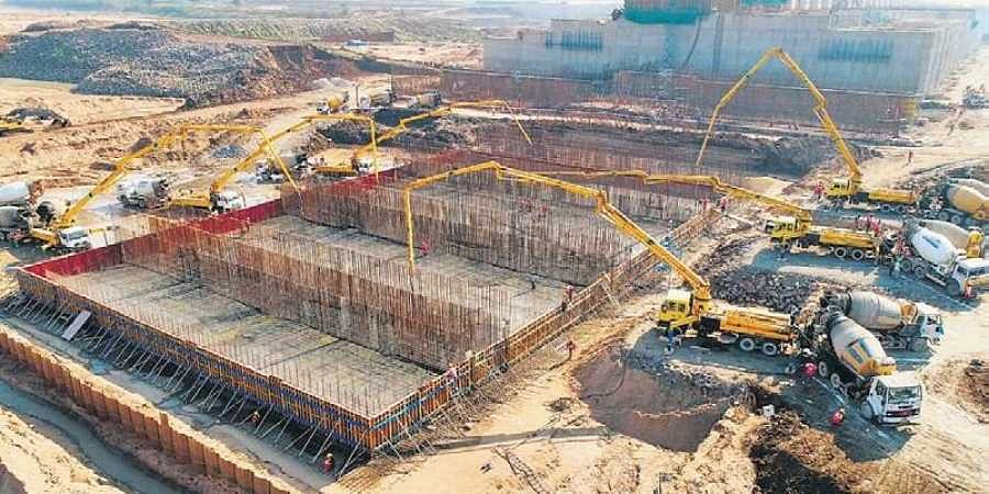Work under progress at Medigadda barrage, a part of Kaleshwaram Lift Irrigation Scheme on Sunday