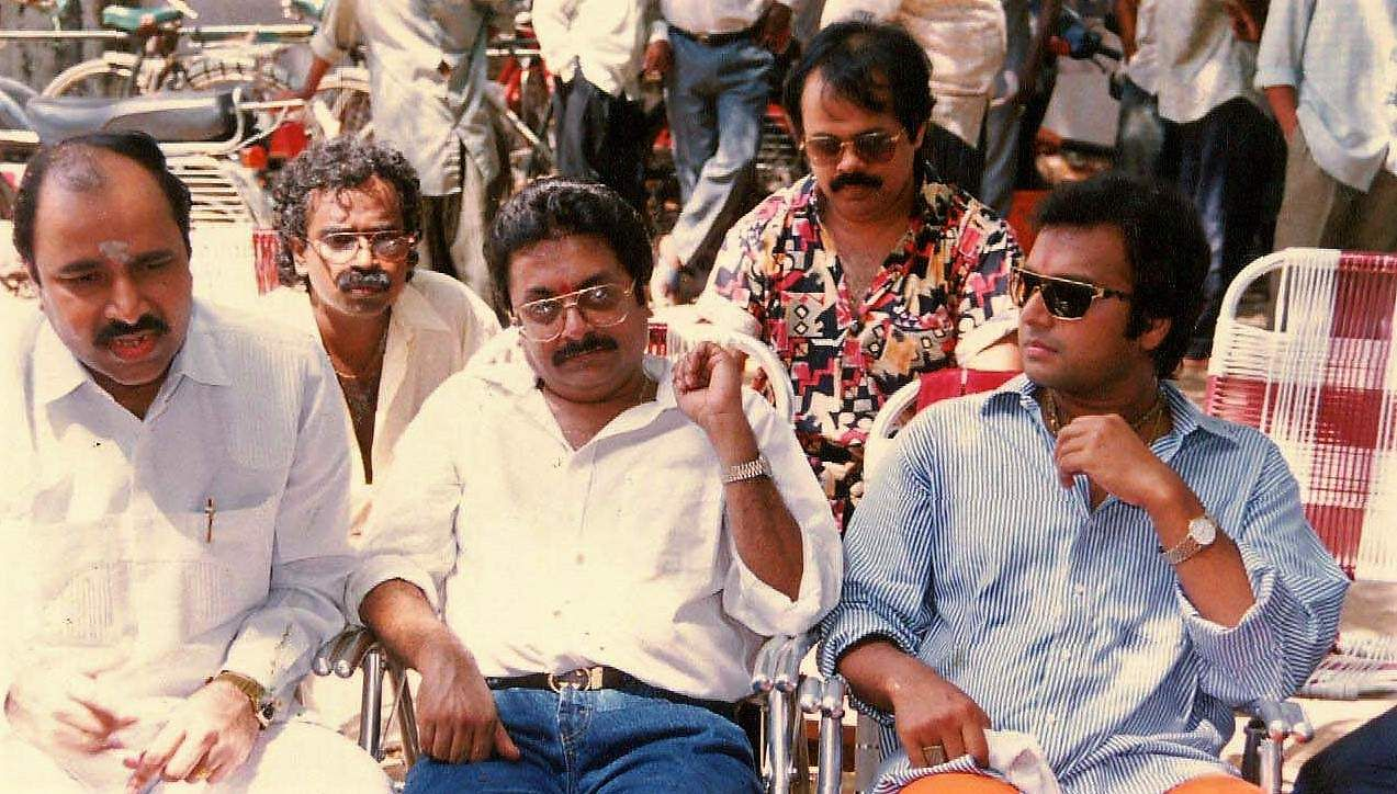 Actor Karthik with (from left) producer Prasad, music director Adityan, director Pratap Pothan and story writer Crazy Mohan in the set of 'Lucky Man'.