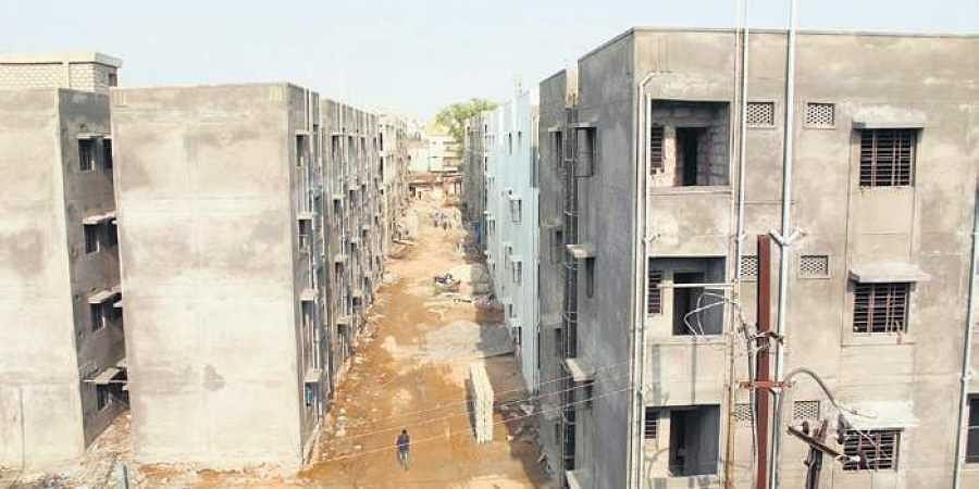 Construction of the double-bedroom houses underway in the Secunderabad Cantonment area.