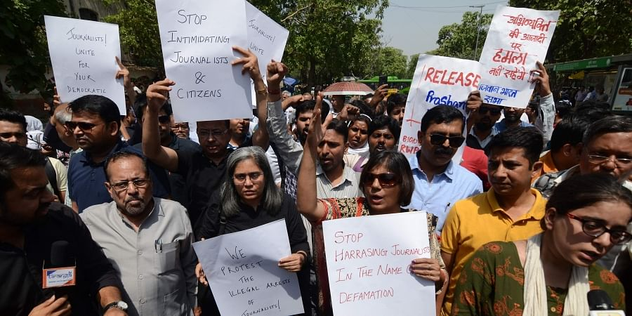 Journalists shout slogans during a protest against the arbitrary arrest of Prashant Kanojia and other journalists by UP police in New Delhi on 10 June 2019. (Photo | Naveen Kumar, EPS)