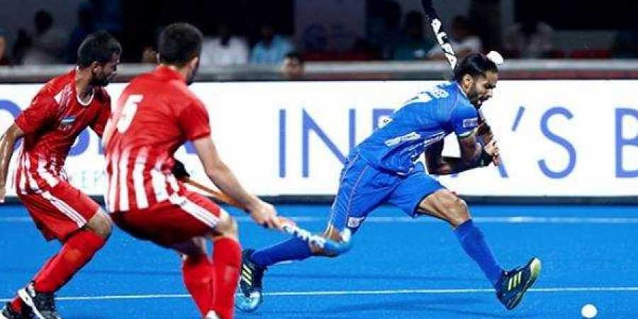An image from India vs Uzbekistan hockey match in the FIH series.
