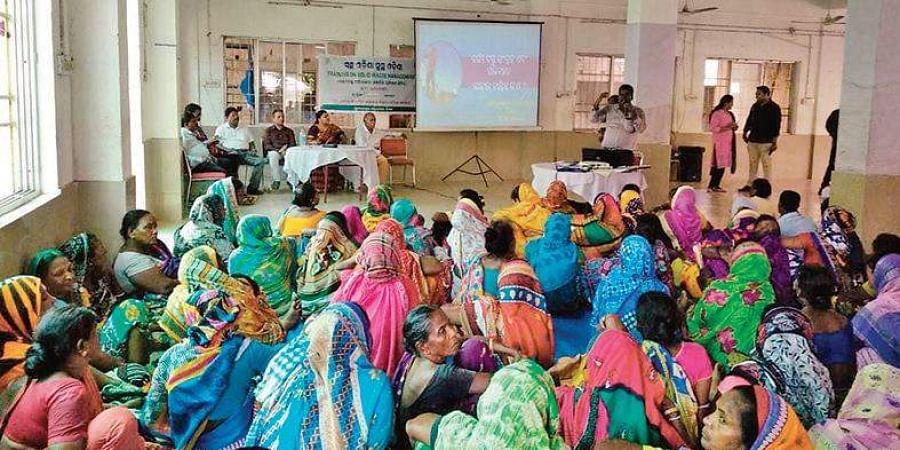 Sensitisation workshop for sanitation workers organised by BMC at Unit VIII community centre in Bhubaneswar.
