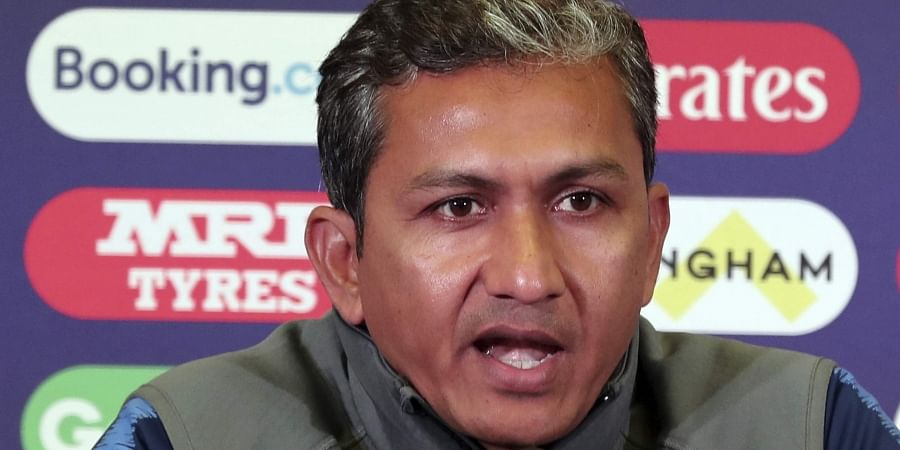 Indian team batting coach Sanjay Bangar speaks during a press conference ahead of their Cricket World Cup match against New Zealand at Trent Bridge in Nottingham. (Photo | AP)