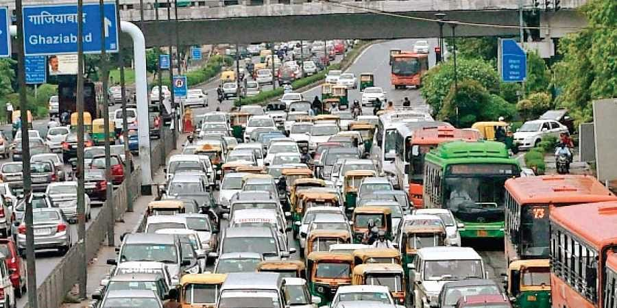 A view of vehicles on a road in Noida. A traffic drive has seen a large number of people being penalised as the authorities crack down on errant road users. (Photo   EPS)