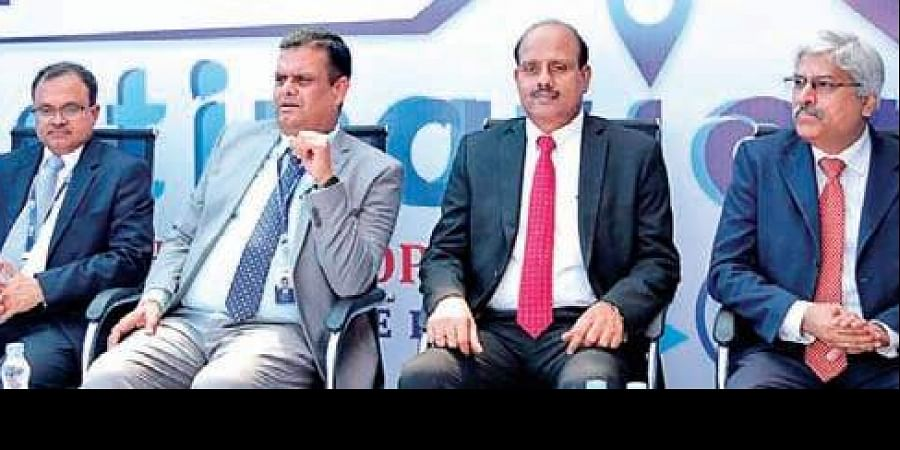 SBI officials at the launch of a marketing outfit in Hitec City of Hyderabad.