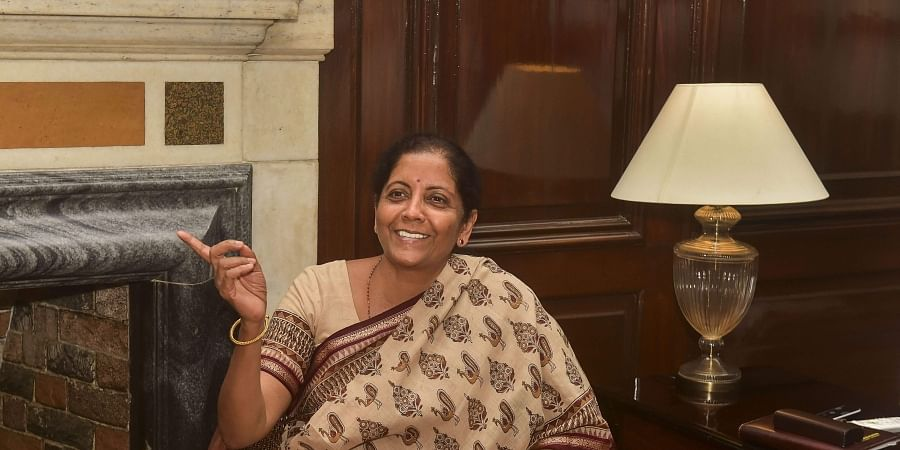 Newly appointed Finance Minister Nirmala Sitharaman takes charge at South Block in New Delhi on Friday