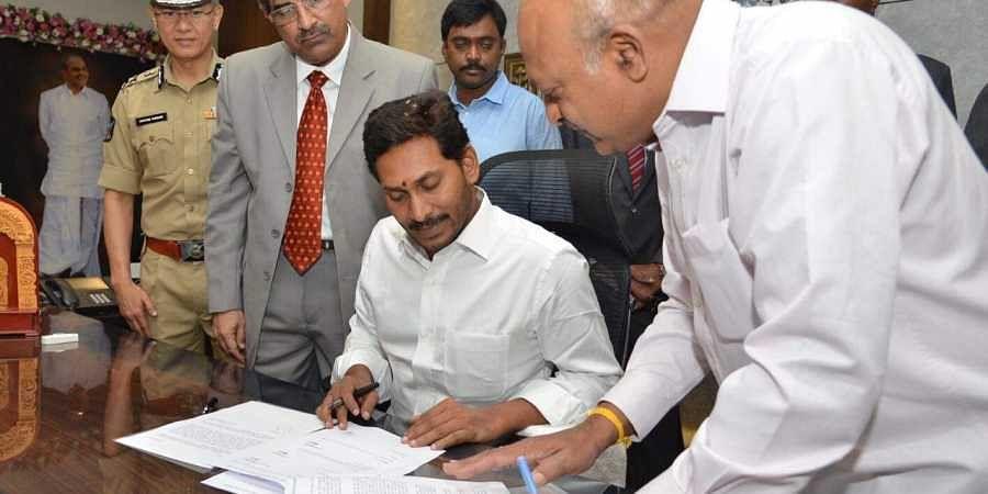 Andhra Pradesh CM Jagan Mohan Reddy at the state secretariat in Amaravati.