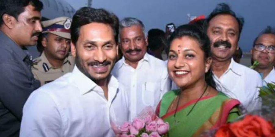 Andhra Pradesh CM Jagan Mohan Reddy with YSRC Nagari MLA RK Roja.