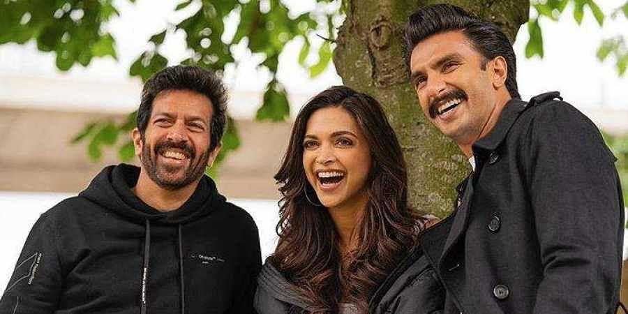 Director Kabir Khan (L), Actress Deepika Padukone and actor Ranveer Singh