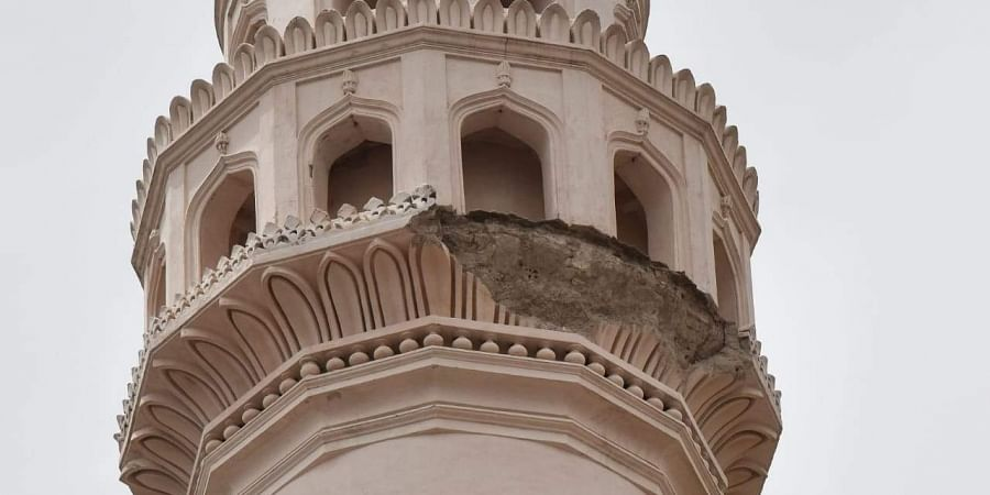 The damaged minaret of the iconic Charminar in Hyderabad.
