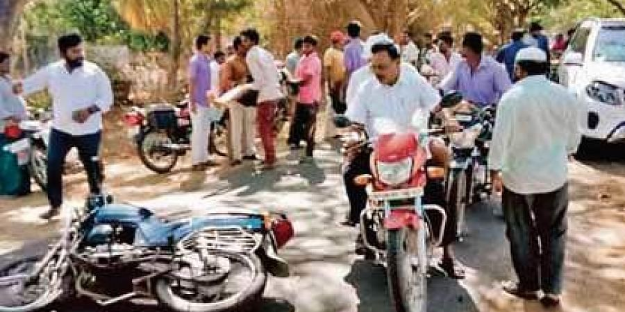 The accident spot near Charvaka Ashram on Nidamarru road in Guntur district, where the YSRC MLA's car hit the bike of a daily wager on Thursday