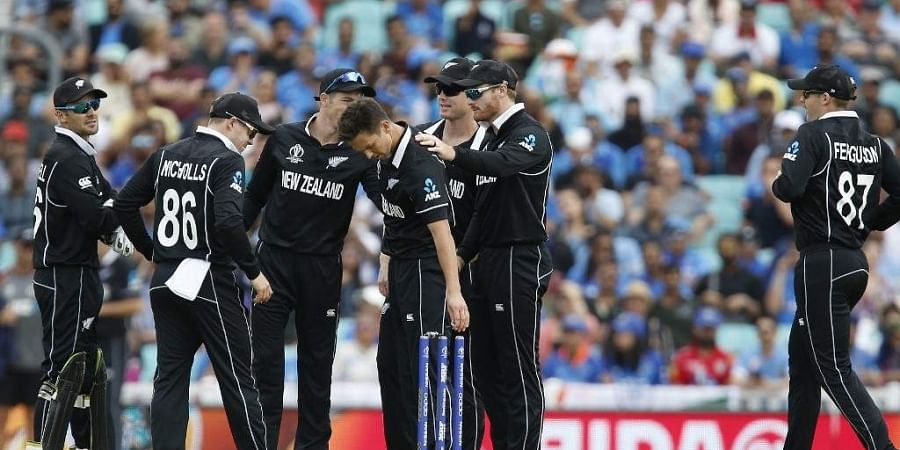 New Zealand's Trent Boult (C) celebrates bowling India's KL Rahul for 6 runs during the 2019 Cricket World Cup warm up match between India and New Zealand at The Oval in London. (Photo | AFP)