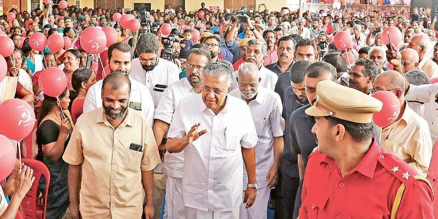 Chief Minister Pinarayi Vijayan arriving for the LDF election meeting at Kolenchery