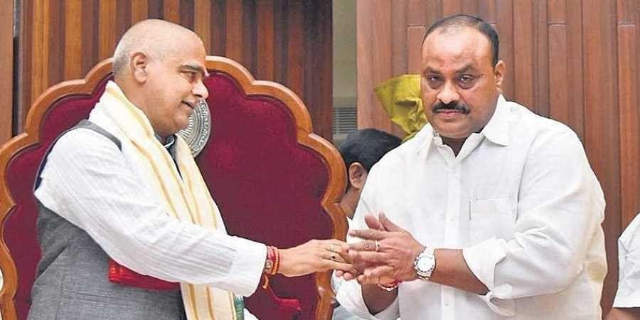 TDP MLA K Atchannaidu (R) greets Speaker Tammineni Sitaram at the Secretariat in Velagapudi near Vijayawada on Thursday .